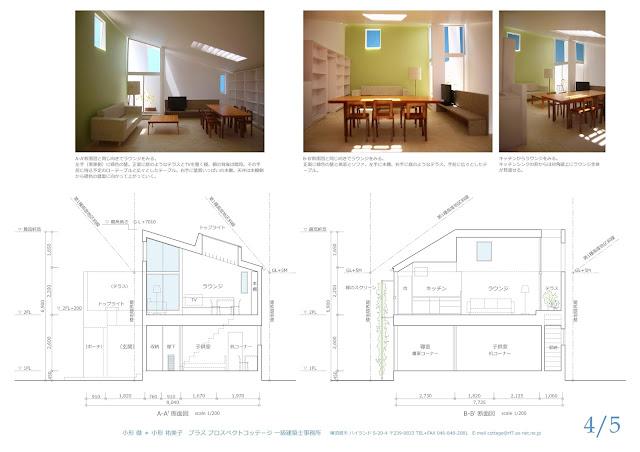 旗竿地に建つ光と風に包まれるライブラリーのある住まい 断面計画と室内のイメージ