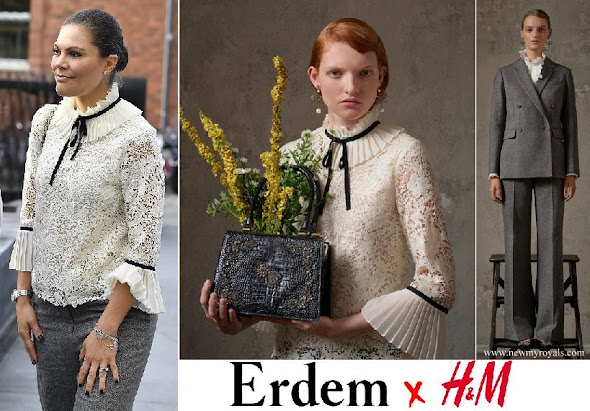 Crown Princess Victoria wore Erdem x H&M Blouse, Erdem x H&M collection Fall-Winter 2017 18 collection