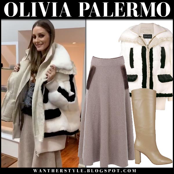 Olivia Palermo in white fur trim coat cara mila, beige midi skirt and beige boots gianvito rossi fall fashion october 4