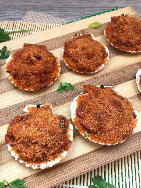 zamburiñas gratinadas con jamón receta