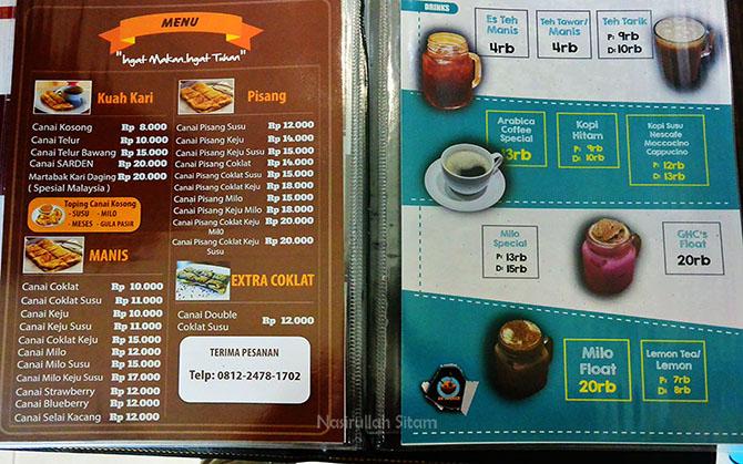 Daftar harga menu makanan lainnya