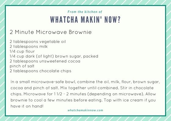 Whatcha Makin' Now?: 2 Minute Microwave Brownie