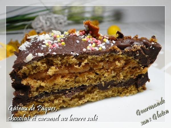 Gâteau de Pâques, chocolat et caramel beurre salé, sans gluten