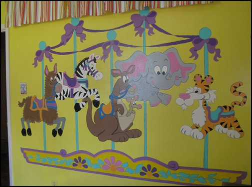Carousel of Critters Paint by Number Wall Mural  carousel theme bedroom ideas - carousel bedroom set - carousel horse theme girls bedrooms - carousel horse decor -  carousel merry go round wall decals - carousel theme baby bedrooms - girls bedrooms theme - carousel horse nursery theme - carousel themed nursery