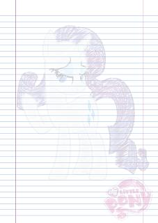 Folha Papel Pautado Little Poney da Rarity rabiscado em PDF para imprimir na folha A4