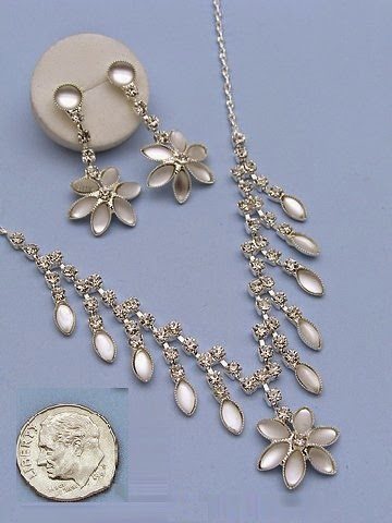 silver floral crystal evening necklace set bridal jewelry