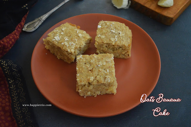 Oats Banana Cake Recipe | Eggless Butterless Oats Banana Cake