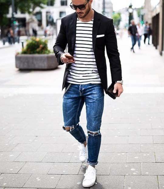 Resultado de imagem para moda masculina   listras horizontais blazer preto