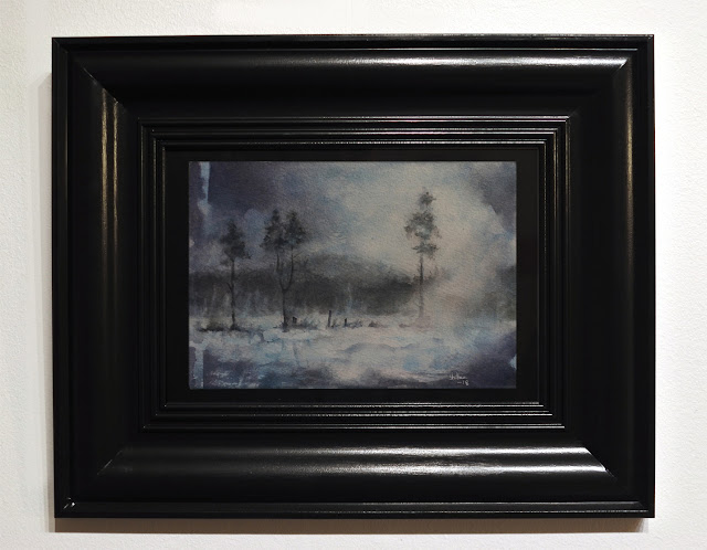 Watercolour painting of winter light and trees by adam stolterman