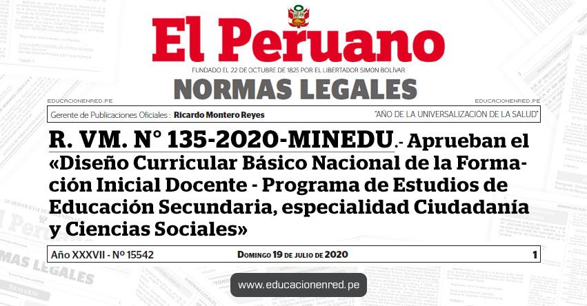 R. VM. N° 135-2020-MINEDU.- Aprueban el «Diseño Curricular Básico Nacional de la Formación Inicial Docente - Programa de Estudios de Educación Secundaria, especialidad Ciudadanía y Ciencias Sociales»