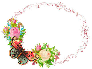 frame butterfly rose digital scrapbooking design download
