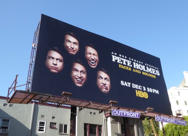 Pete Holmes Faces and Sounds HBO special billboard