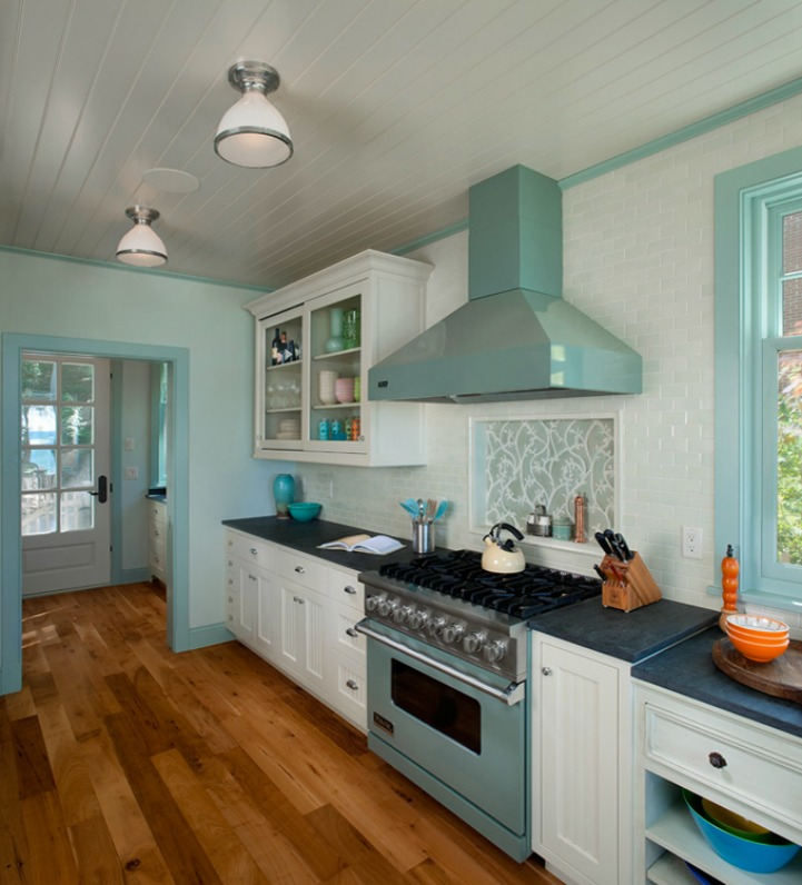 Coastal aqua and white kitchen