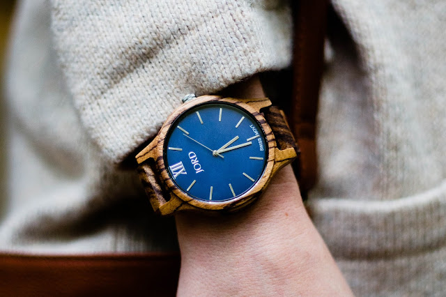 wood watch with navy blue face
