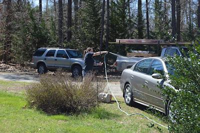 Sarah washing our car.