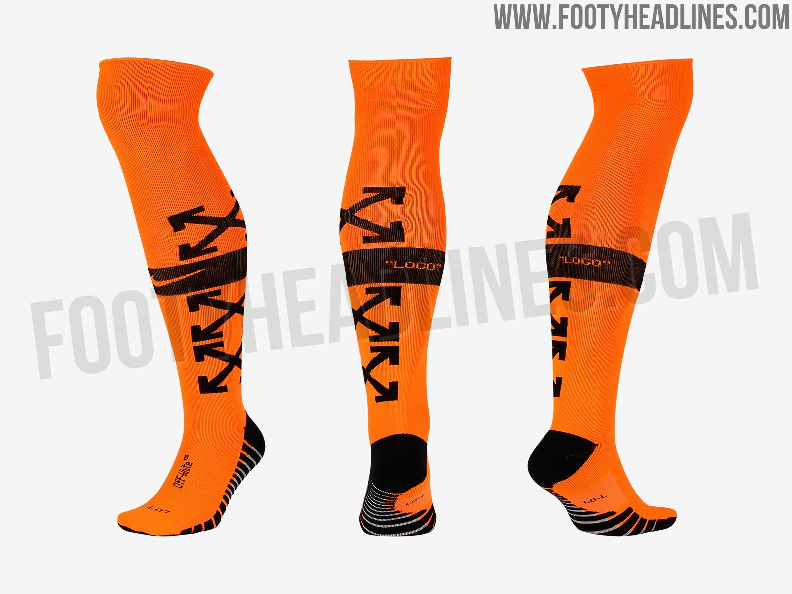 44e78f30c24 Nike Football Off-White Socks. The socks are colored in a garish orange  with a black band around the calf and three  X  logos on the outside.