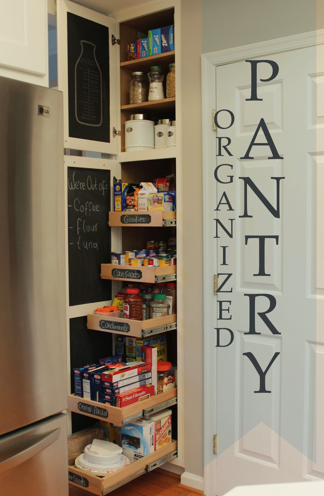 DIY pantry organized with pull out shelves how to