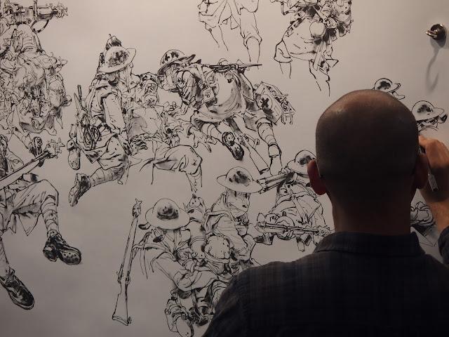 Evolución diaria en imágenes del dibujo en vivo de Kim Jung Gi en el Salón del Cómic