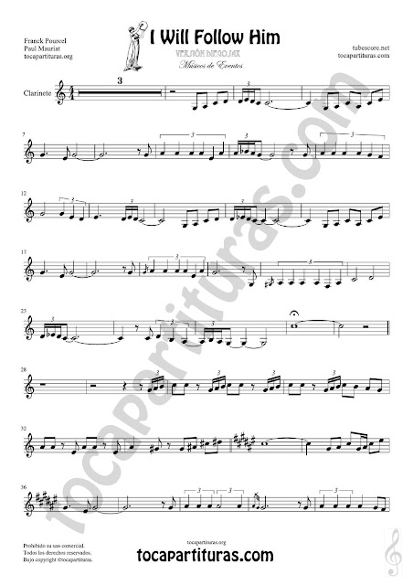 Hoja 1 de 2  Clarinete Partitura de Yo le seguiré (I will follow him) Sheet Music for Clarinet Music Score