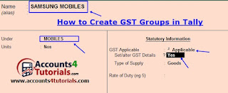 how to create gst stock items in tally