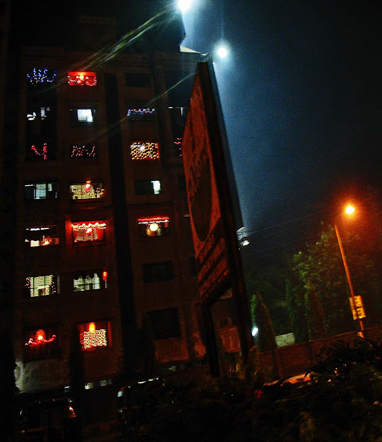 apartment lighted up for Diwali