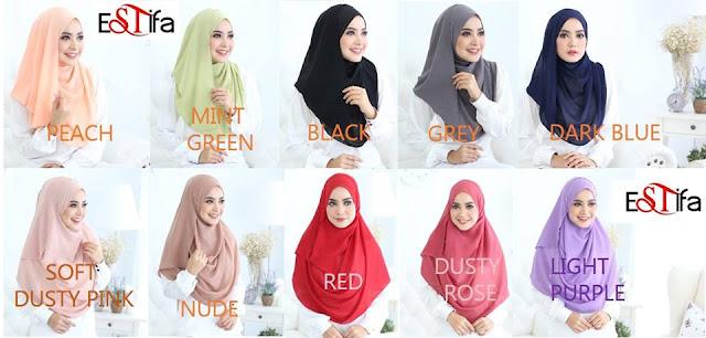 Shawl Estifa ,Estifa , Blouse Muslimah Cantik Bergaya