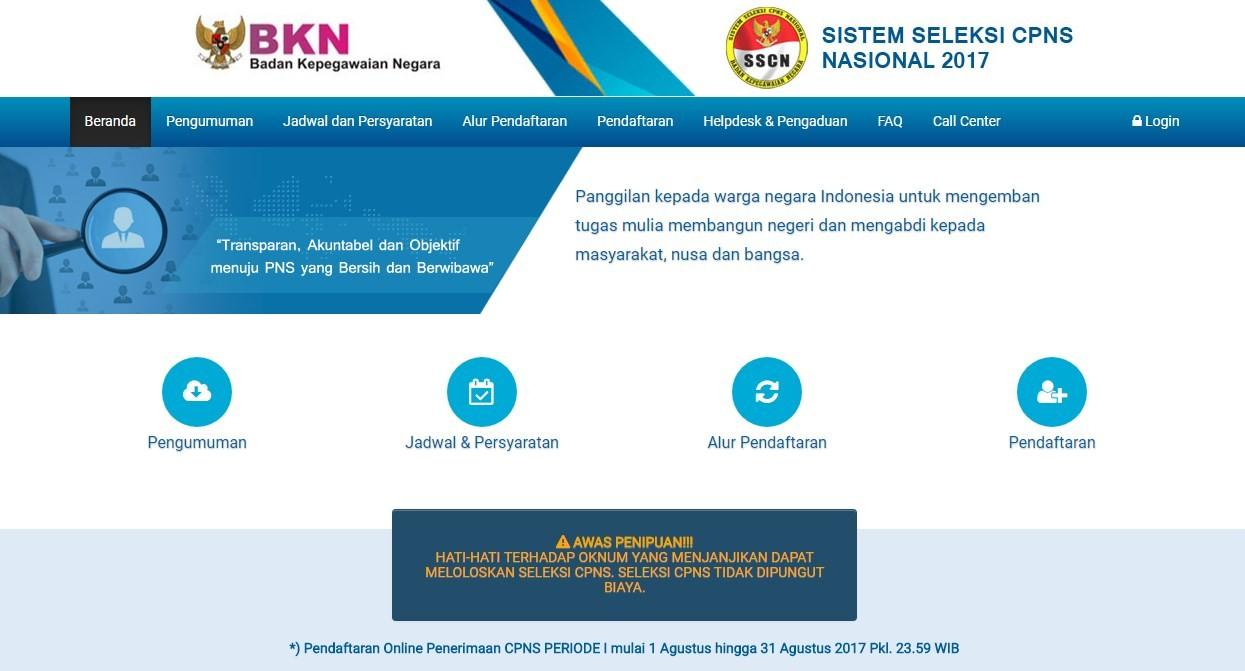 Sscn.bkn.go.id Situs Resmi Pendaftaran CPNS 2018 | www