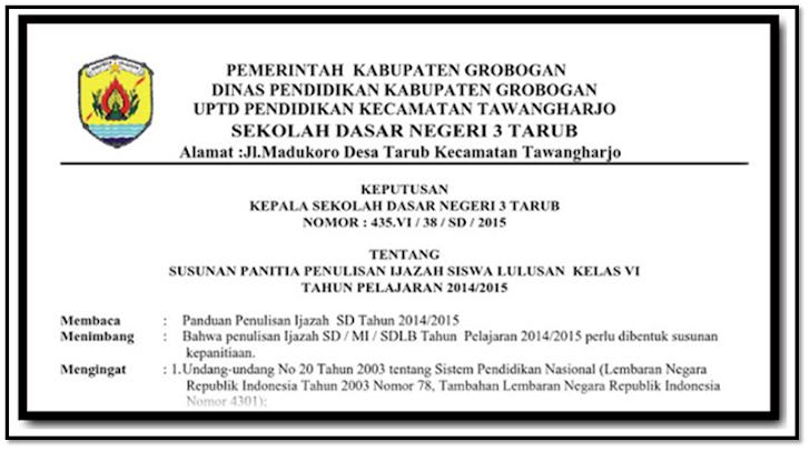 Contoh Surat Keputusan (SK) Panitia Penulisan Ijazah Format Docx- Galeri Guru