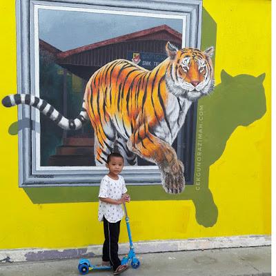 harimau smktpg, gambar harimau 3d, gambar bersama harimau, gambar harimau, mural harimau, smk telok panglima garang