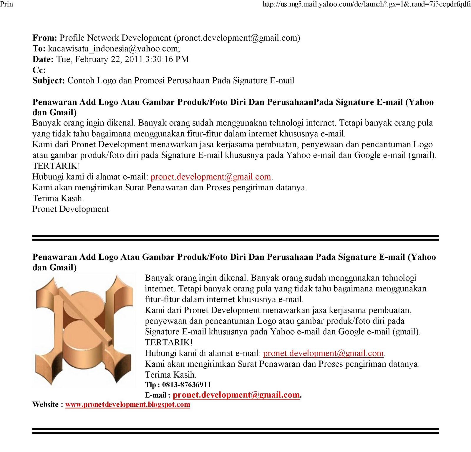 Pronet Development™: CONTOH TAMPILAN SIGNATURE PADA