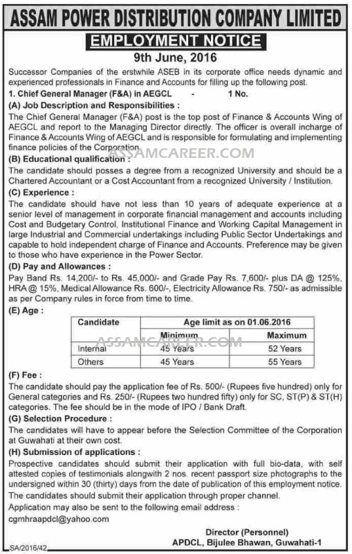Chief General Manager F Amp A Jobs In Aegcl June 2016