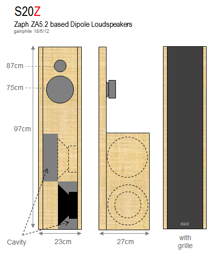 Gainphile: S20-Z Compact Open Baffle using Zaph Kit
