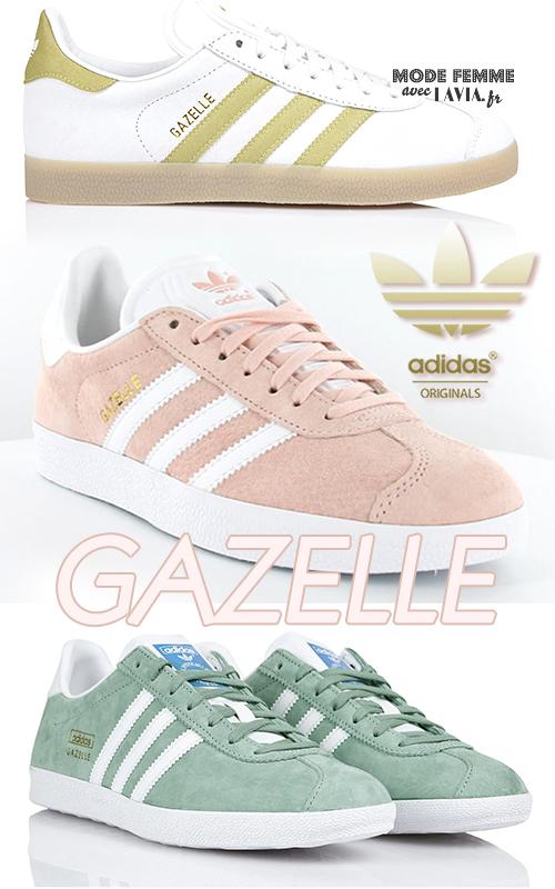 Basket gazelle femme rose, blanche ou bleu ADIDAS