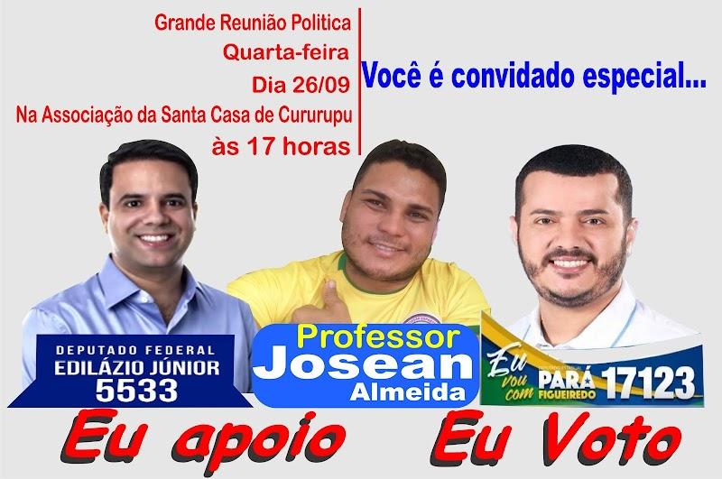 É hoje grande reunião politica em Cururupu com Pará Figueiredo e Edilázio, para consolidação de apoio político.