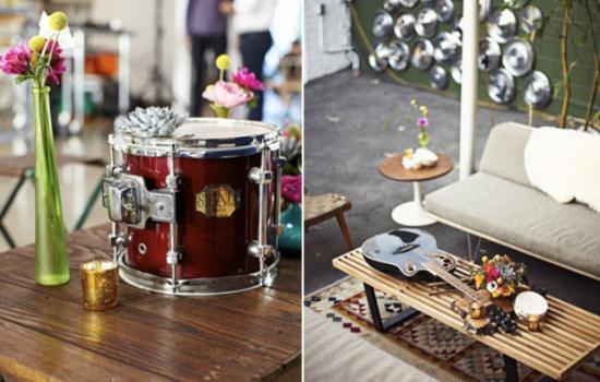 matrimonio tema musica, rock'n'roll wedding decor