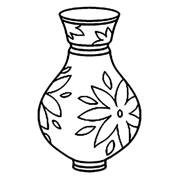 Flower Vase Coloring Pages Flower Coloring Page Roses In Curved Vase  Coloring Page Plants Flower In Vase Colouring Pages Coloring Pages  Printable
