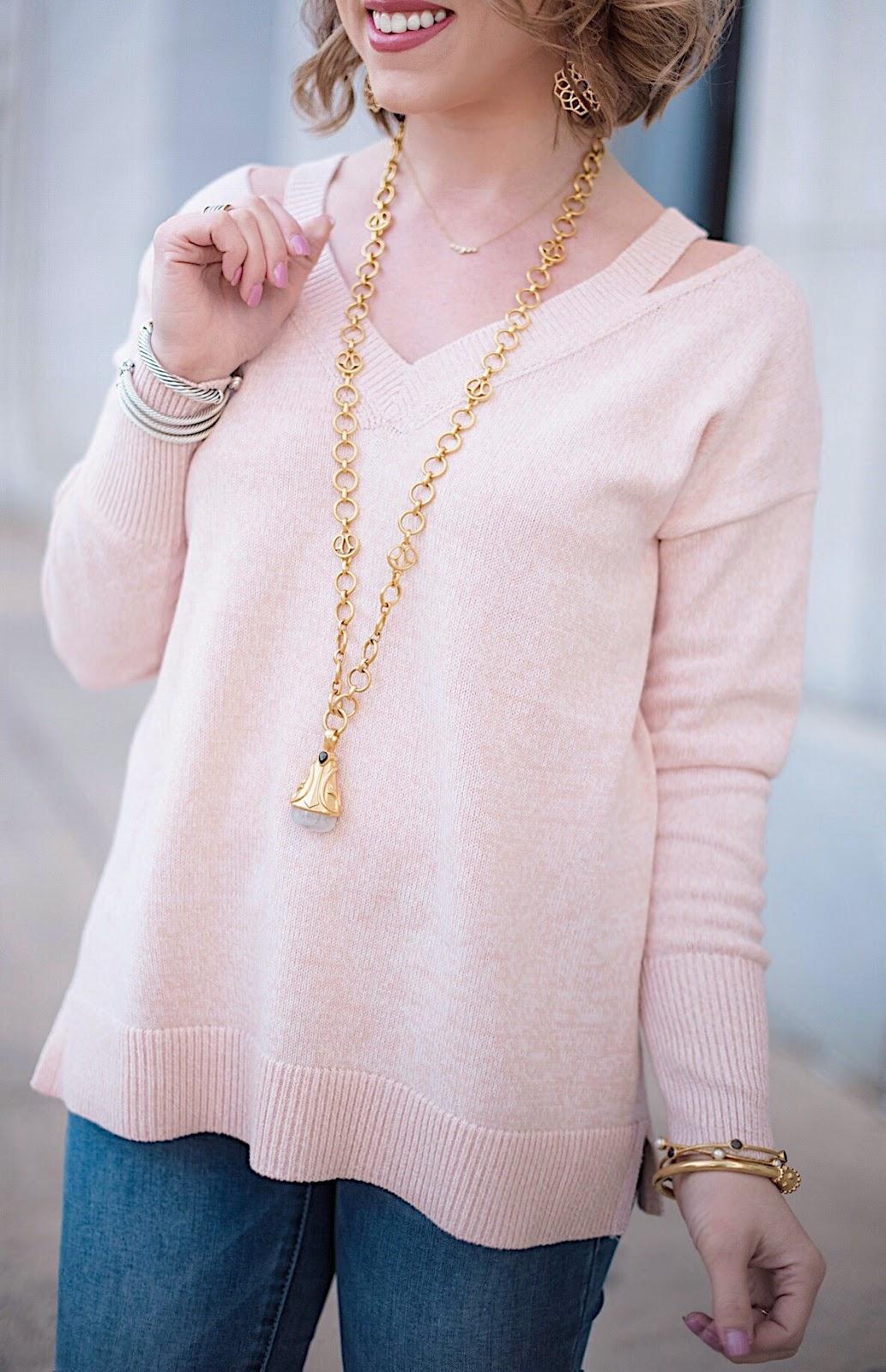 Loft Cutout V-Neck Sweater - Something Delightful Blog