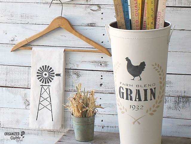 Fun Farmhouse Style Makeovers With Old Sign Stencils #Oldsignstencils #stencils #dixiebellepaint #thriftshopmakeover #garagesalefind #upcycle #farmhouse