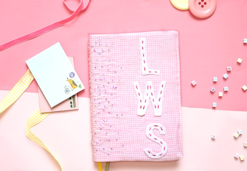 diy fabric journal cover sequins