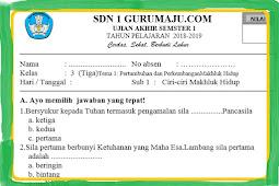Soal PAS / Soal UAS Kelas 3 SD/MI Semester 1 Kurikulum 2013 Revisi 2018