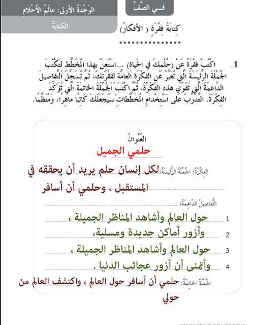 حل دروس الكتابة في اللغة العربية للصف الثالث