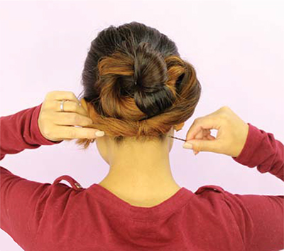 Infinity Bun hairstyle tutorial setp 6