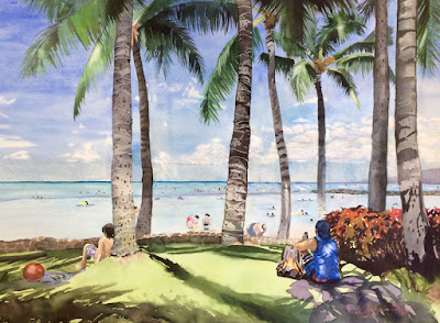 Original Landscape, Seascape Painting, Waikiki, Hawaii by Colleen Sanchez""