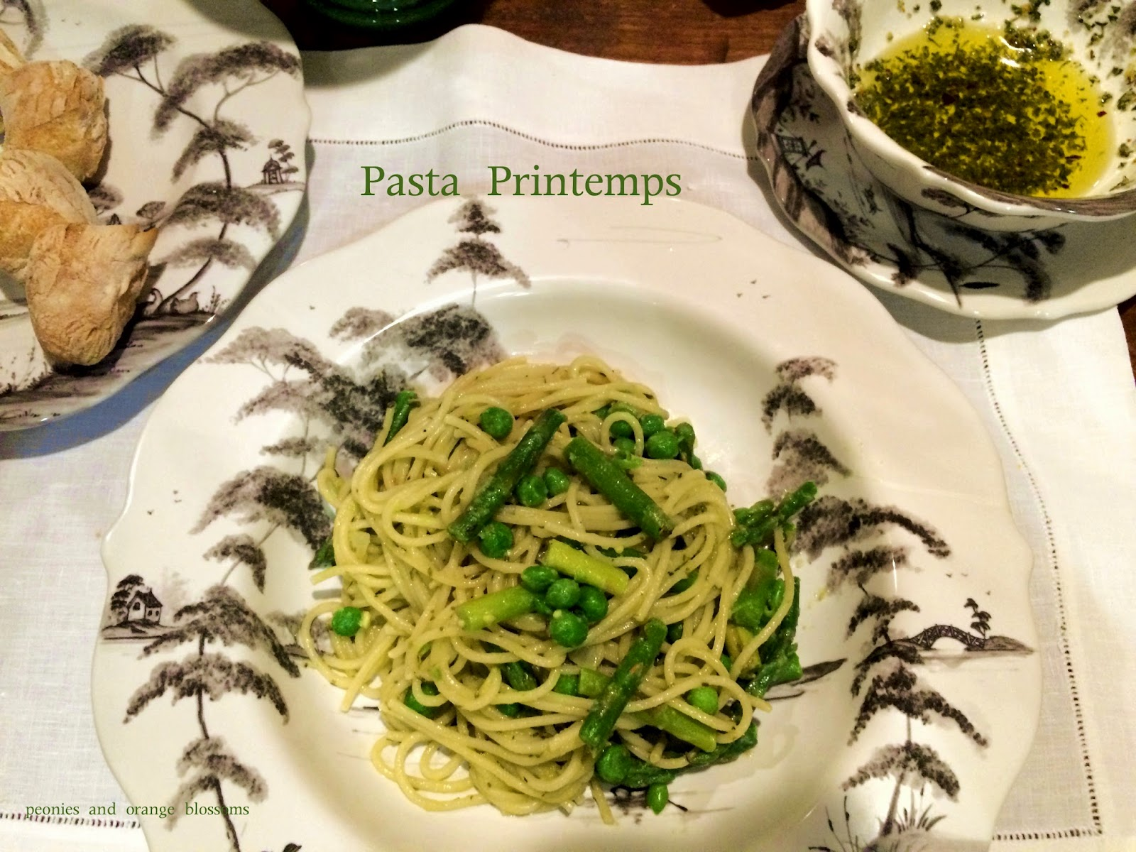 "Spring Pasta with asparagus, peas, and an avocado ""cream"" sauce! Healthy and delicious, perfect for vegetarians!"