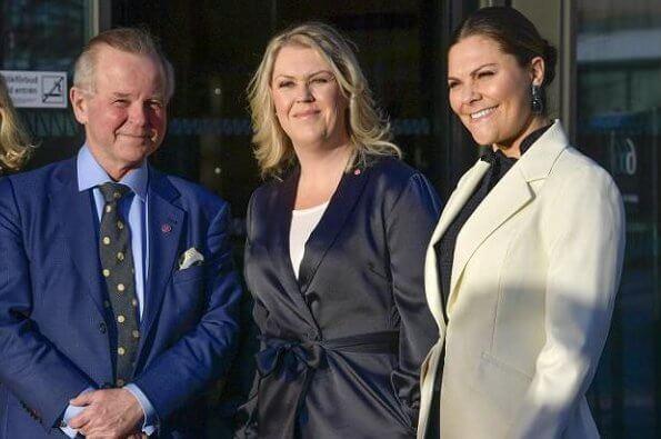 Crown Princess Victoria wore Baum und Pferdgarten Beyonce blazer. Af Klingberg rakel suede nero boots. Ralph Lauren bag