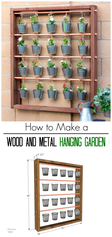 easy diy hanging flower herb garden concrete wall tutorial