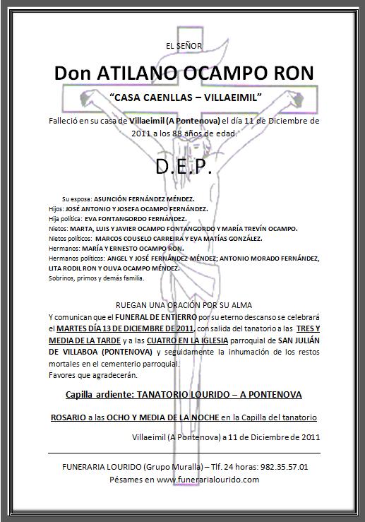 Lourido Esquela Funeral Atilano Ocampo Ron Casa Caenllas Villaeimil
