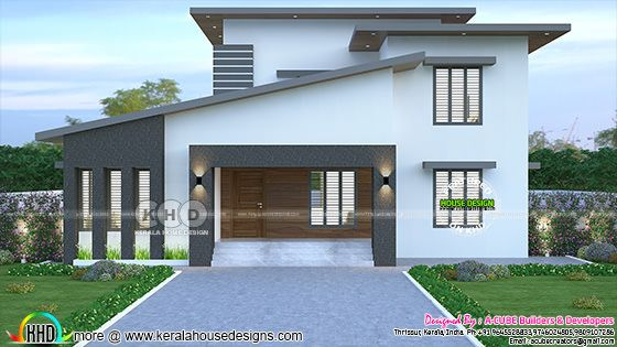 2435 sq-ft 4 bedroom slanting roof model house