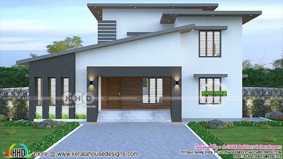 2435 sq-ft 4 bedroom slanting roof model house