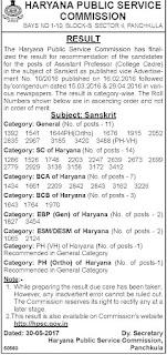 HSSC Sanskrit Final Result